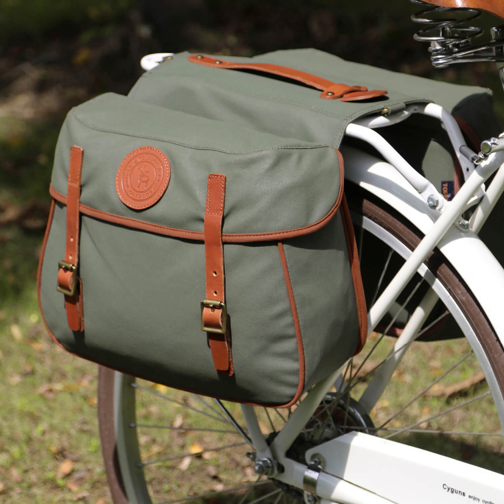 Tourbon City Cycling Retro Bicycle Saddlebags Rear Rack Trunk Backseat Pannier Bike Luggage Two Bags Waterproof Waxed Canvas mountain bike rear bag bike tail box cycling carry bag bicycle shell quick release rear seat pannier rack bag