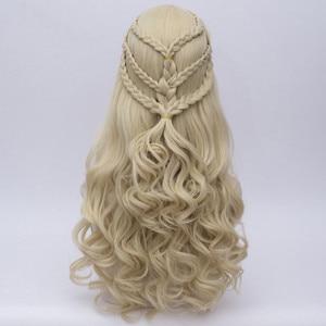 Image 5 - Game of Thrones Daenerys Targaryen Cosplay Parrucca Sintetica Dei Capelli Lunghi Ondulati Drago di Madre Parrucche Del Partito di Halloween Costume per Le Donne