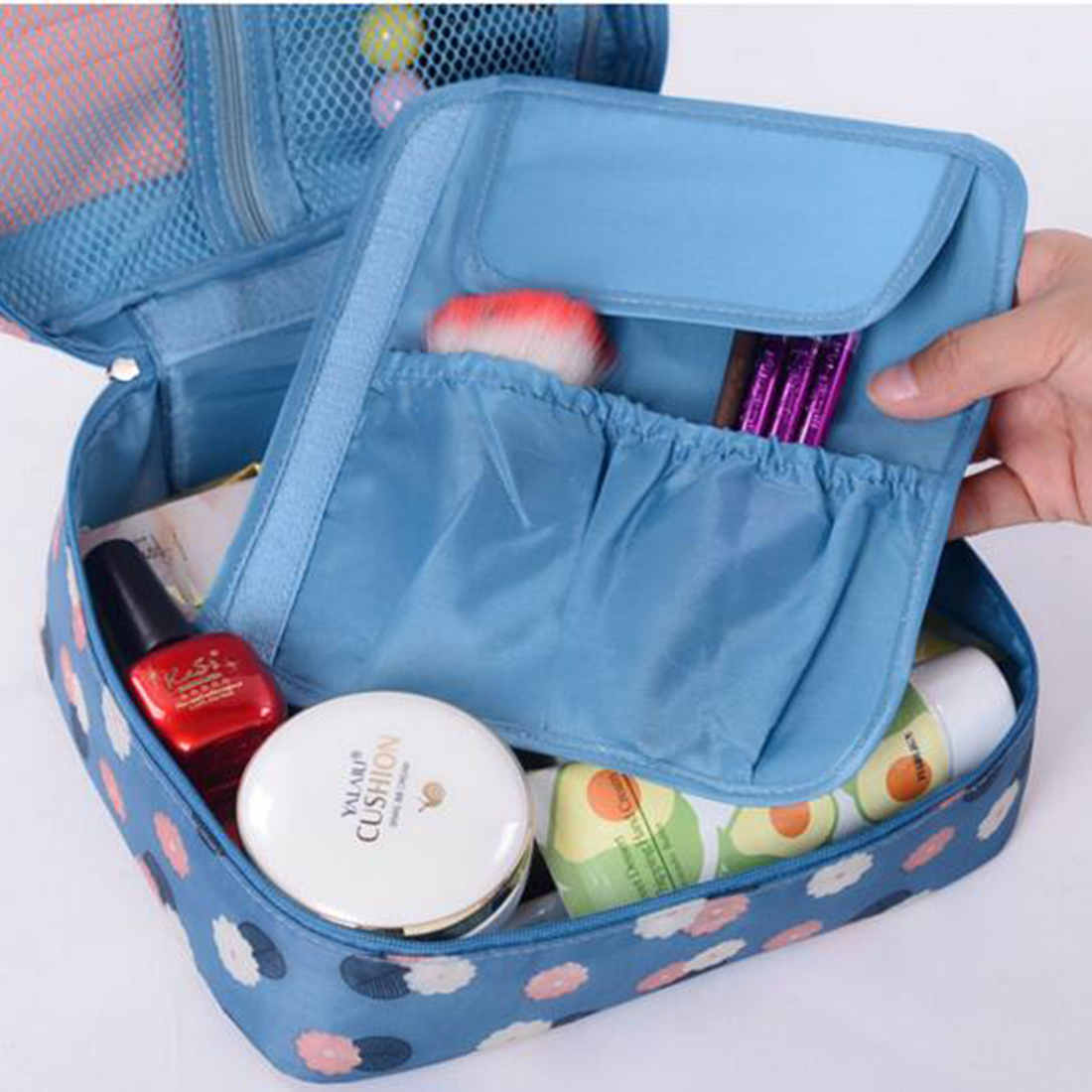 Ruched Floral Casual Nylon Zipper New Women Makeup bag Cosmetic bag Case Make Up Organizer Toiletry Storage Travel Wash