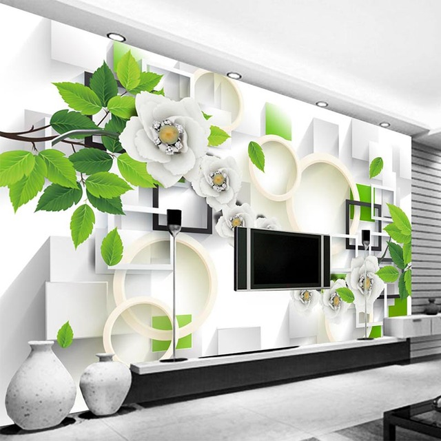 3D Tapete Frische Blumen Grüne Blätter Foto Wandmalereien Tapete ...