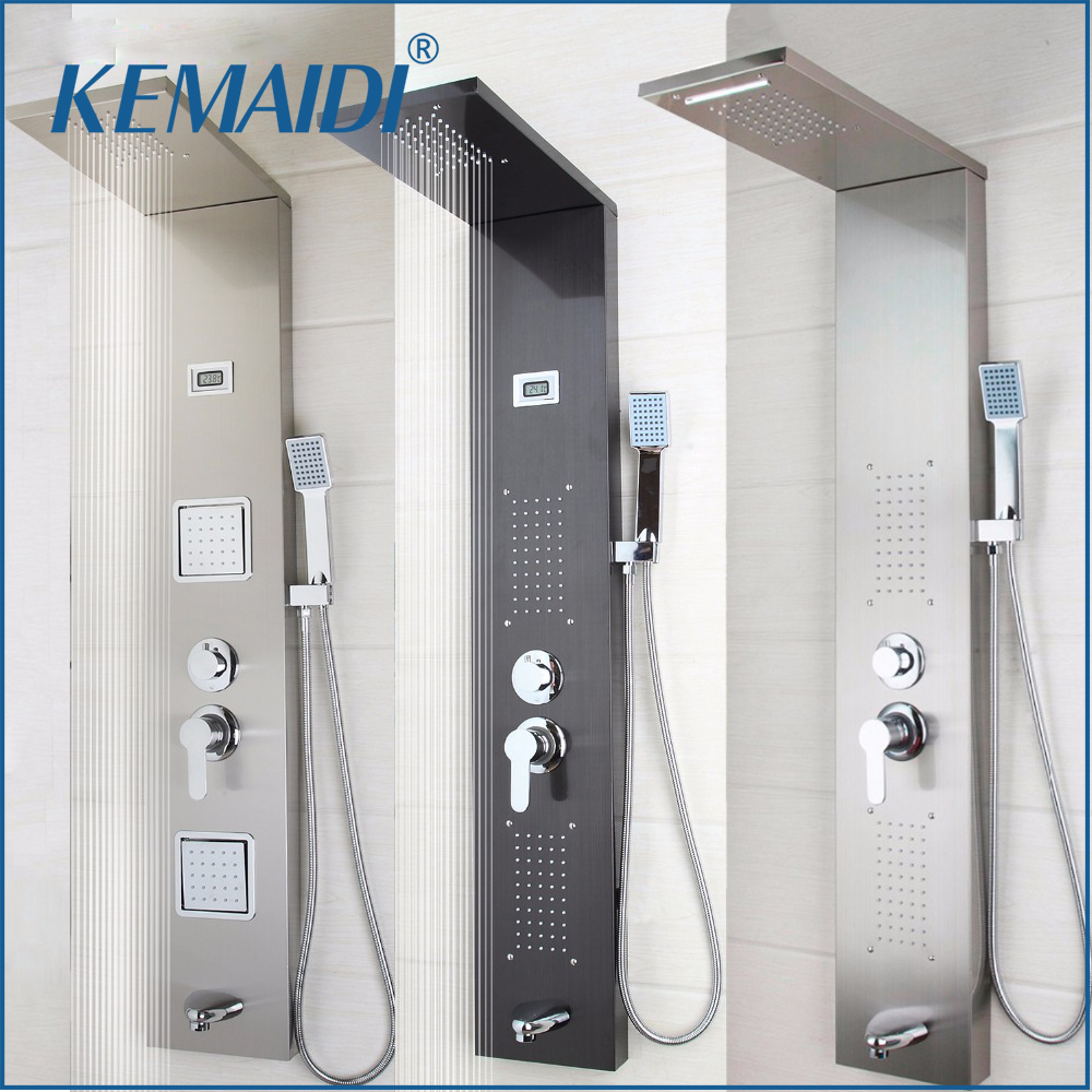 kemaidi modern bathroom stainless steel shower column wall mounted one handle system shower panel
