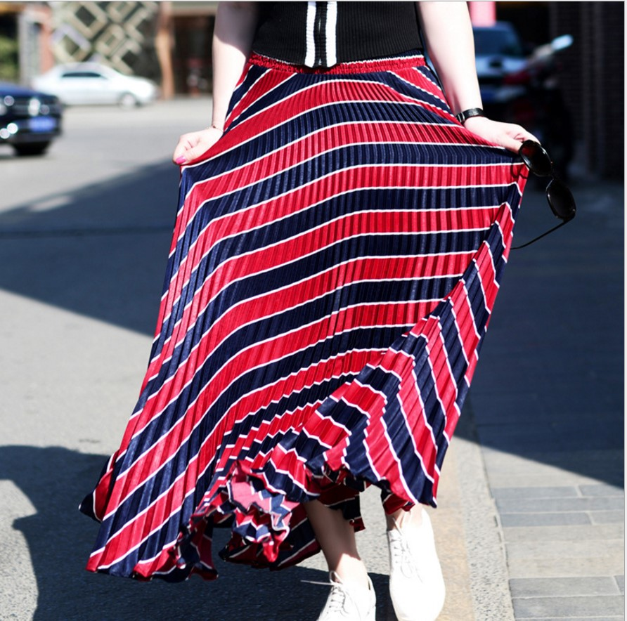 Print Skirt Maxi Floral Stretch Summer Vintage 1602 For 1605 Skirts Long Chiffon Women Boho Womens Gtgyff 1601 High Flare 1603 Waist Stripe Pleated xOIvPq5Pw