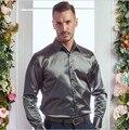Otoño invierno hombre de Alta calidad caliente cultiva su moralidad hombres de la camisa de manga larga de terciopelo de seda camisa Para Hombre Casual de Negocios camisas