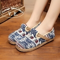 Vintage Embroidery Women Flats Shoes Linen Cotton Woman Casual Slip on Canvas Walking Shoes Old Beijing Loafers Sapato Feminino