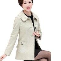 Boutique Middle Age Mother Outerwear Fashion Plus Size Women Coat Women Loose Elegant Coat Embroidery Solid color Coat LU175