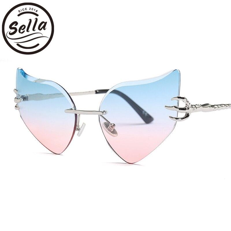 Sella nuevos estilos Cateye caramelo Color gradiente tinte lente gafas de sol marca diseñador mujeres hombres Irregular gafas sin montura gafas