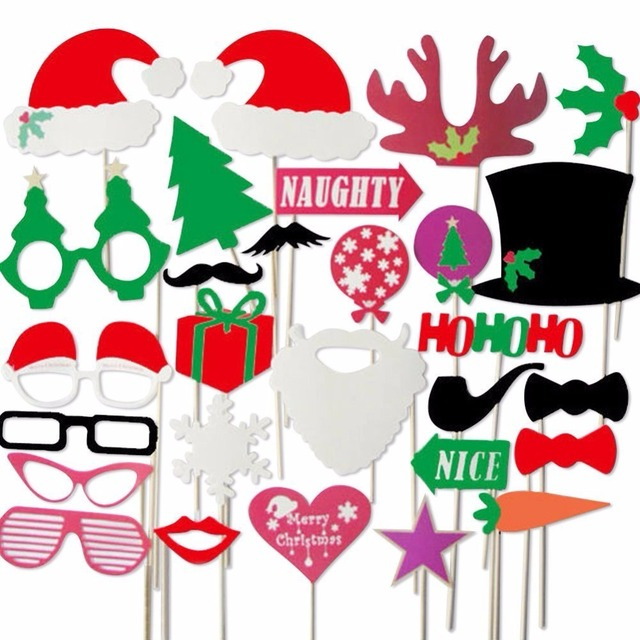24pcslot Christmas Photo Booth Props Christmas Party Celebration