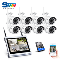New Plug And Play 8CH 12 LCD Wireless NVR Security System 960P 1 3MP HD WIFI
