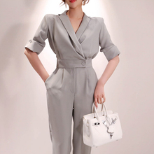milinsus 2019 Summer Ladies Short sleeve Solid Jumpsuits suit V-neck Office wear casual Women Slim fit Gray overalls Rompers