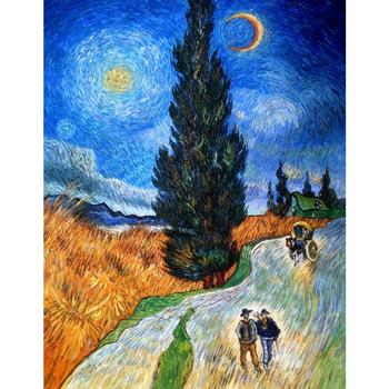 Famous artist vincent van gogh  oil painting reproduction Cypress against a Starry Sky home decor Hand painted