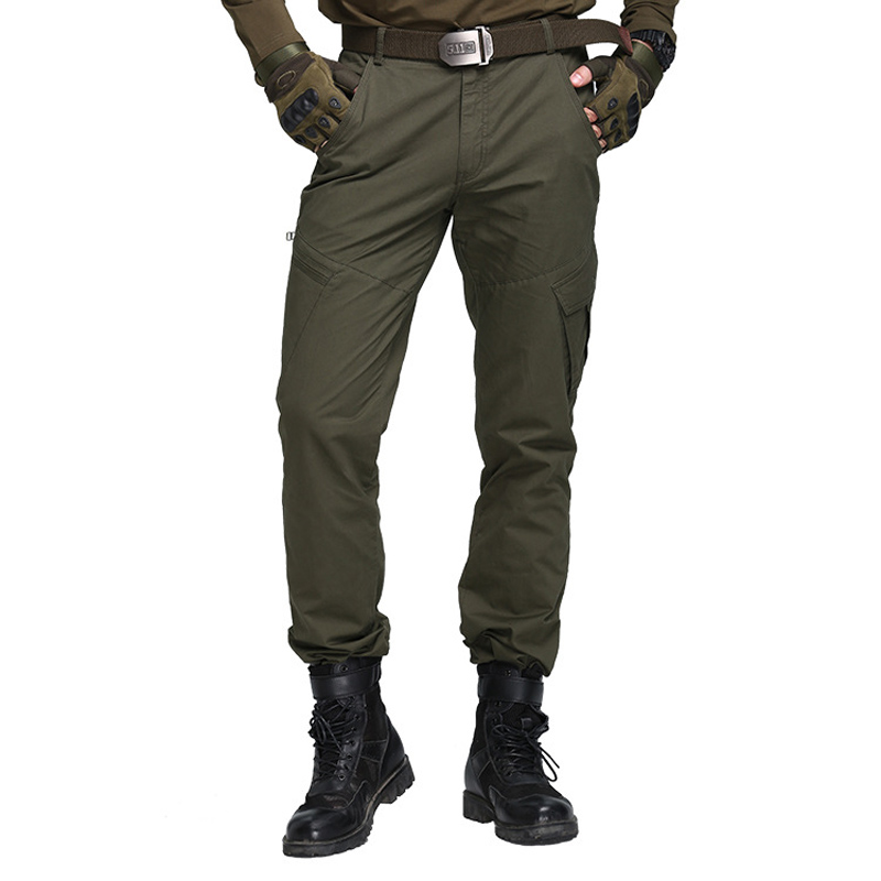 Men Pants Combat-Trousers Multi-Pocket Tactical-Track Military-Style Army Baggy Casual