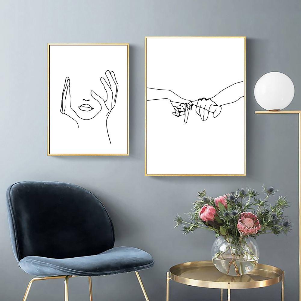 Line Drawing Poster Minimalist Painting Abstract Wall Art Canvas Painting Love Poster Hands Romantic Picture Nordic Unframed in Painting Calligraphy from Home Garden