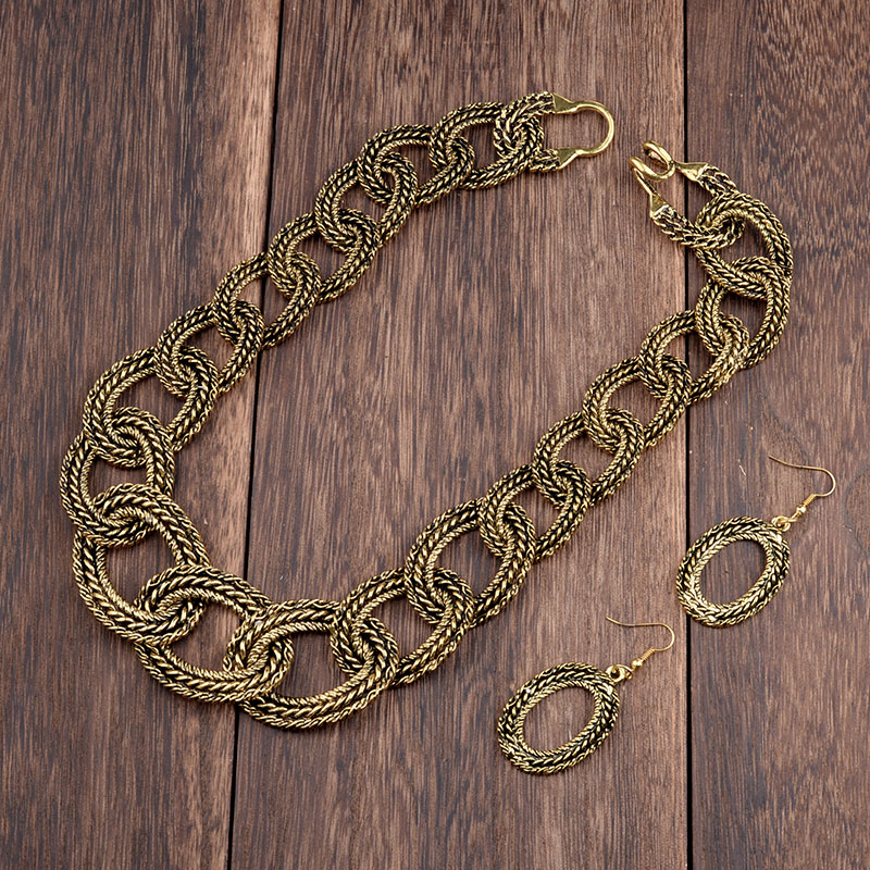 MYTHIC AGE Bohemian Vintage Antique Cuban Link Chain Statement Choker Costume Collar Necklace Earrings Jewelry Sets Women