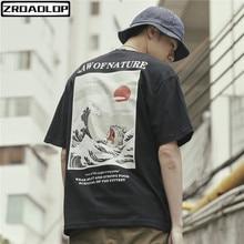 ZROADLOP Japanese Ukiyo Cat Wave Printed Streetwear T Shirts 2019 Summer Mens Hip Hop Casual Short