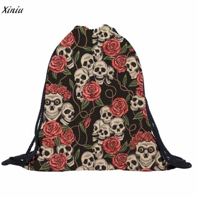 2018 Skull 3d Print Rose Flower Drawstring Bags Backpack Mochilas Women  Men s Travel Bag School Bags f4a94c53bb