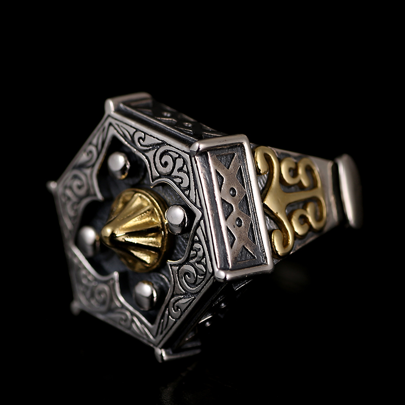 Image 2 - Skills old silversmith 100% 925 Silver old nine door with male  personality the Buddha ring with William ring opening ring925  silversilver 925ring 925 silver