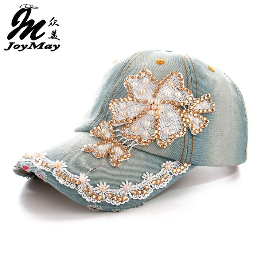 2016 Neue Freude Kann Hut Mütze Fashion Freizeit Blumen Strass Diamanted Vintage Jean Baumwolle Caps Baseballcap B231 Eine Hohe Bewunderung Gewinnen
