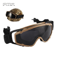 FMA Helmet Goggle Tactical Ballistic Anti Fog Goggle W Side Rails Military Paintball Hunting Outdoor Skate