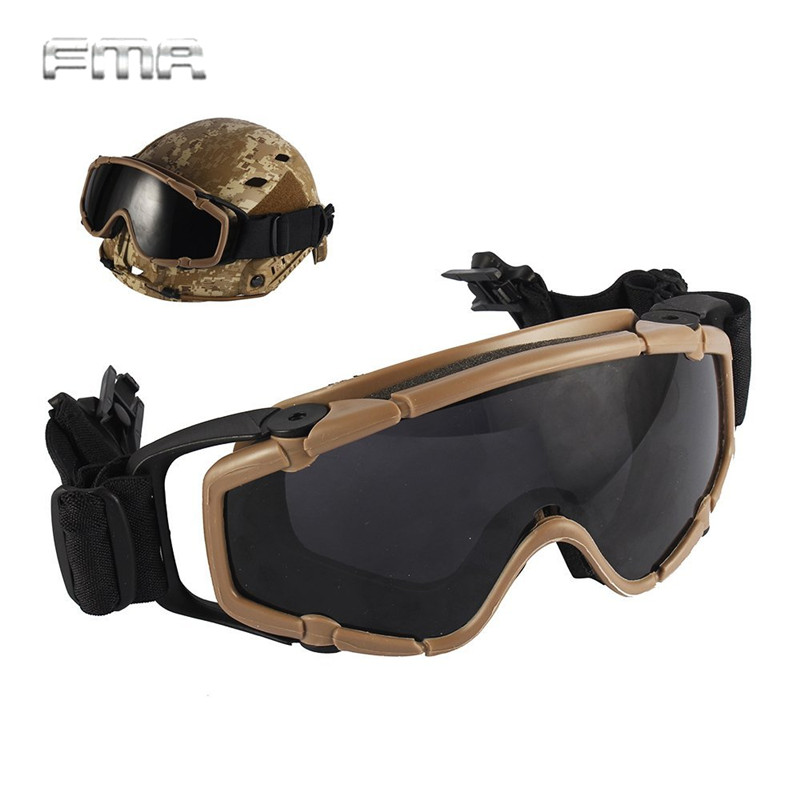 FMA Helmet Goggle Tactical Ballistic Anti-Fog Goggle w/ Side Rails Military Paintball Hunting Outdoor Skate Cycling Safety Glass goggle