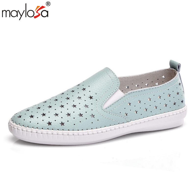 MAYLOSA women Genuine Leather Flats Shoes New Summer Women's Shoes  Female Casual Flat Woman Loafers Leather Black Non-slip Flat vtota shoes woman flat summer shoes fashion genuine leather single shoes 2017 new zapatillas mujer casual flats women shoes b44