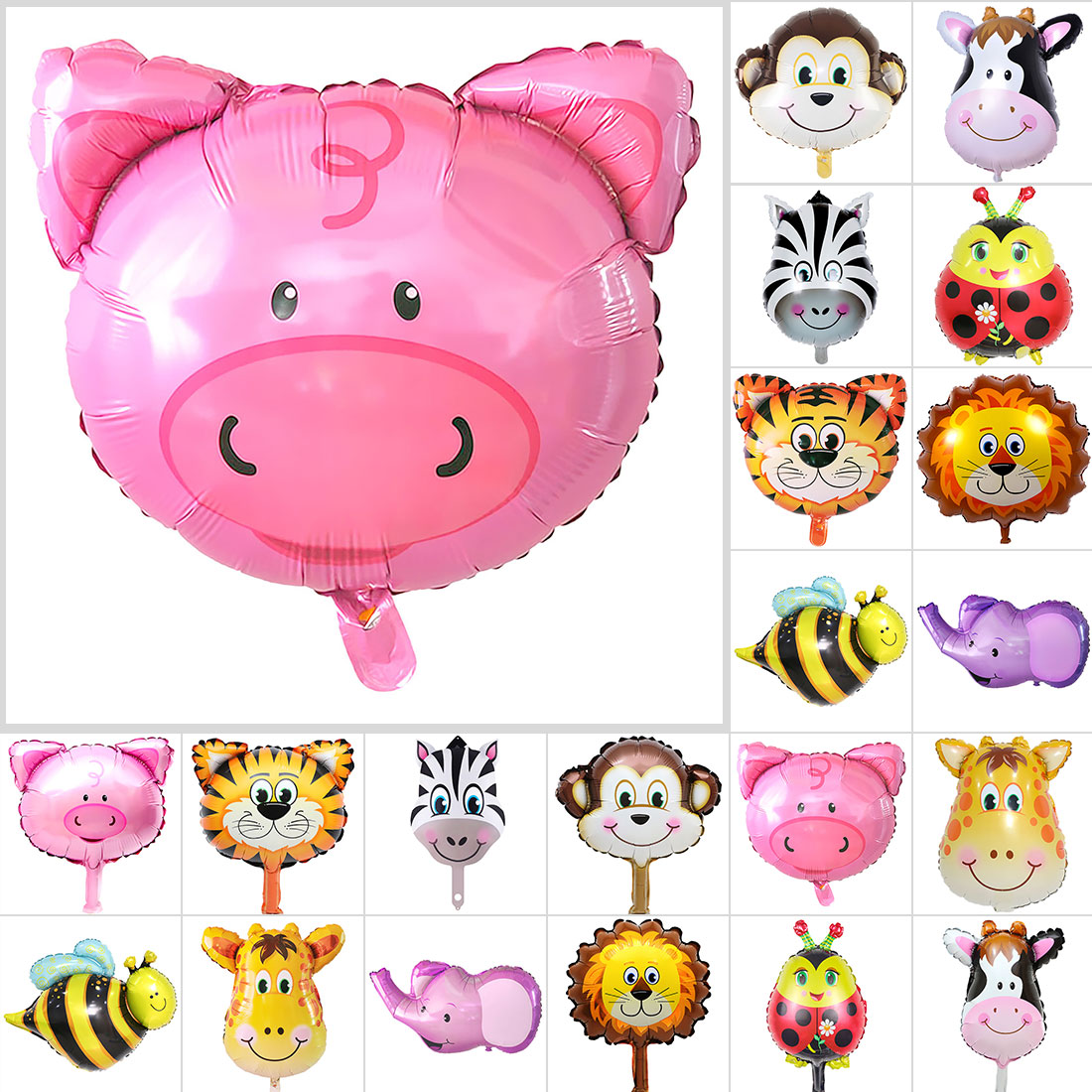 Foil Balloons Jungle Animal Tiger Lion monkey zebra deer cow Helium Ballon birthday party decoration zoo theme supplies balloons
