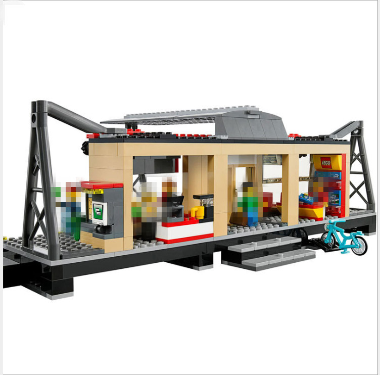 LEPIN 02015 456pcs City Series Train Station Building Block Compatible with 60050 Brick Toy  Train Station  Brick toy for child цена и фото