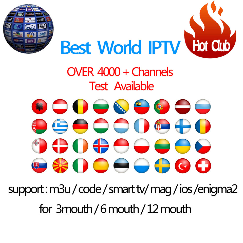 IPTV Subscription Android TV Box +Europe Sweden Arabic French Italy Germany UK Hotclub M3U Enigma2 Smart TV Mag tv box