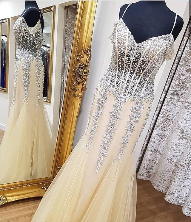 Bling Bling New Mermaid   Evening     Dress   2018 Sweetheart Neck Spaghetti Strap Floor Length Beading Tulle Prom   Dresses   Formal Gowns
