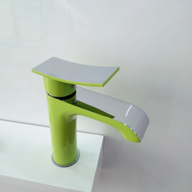 Free shipping Green color solid brass body wash basin faucet with ...