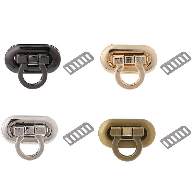 THINKTHENDO New Metal Clasp Turn Lock Twist Lock For DIY Handbag Craft Bag Purse Hardware