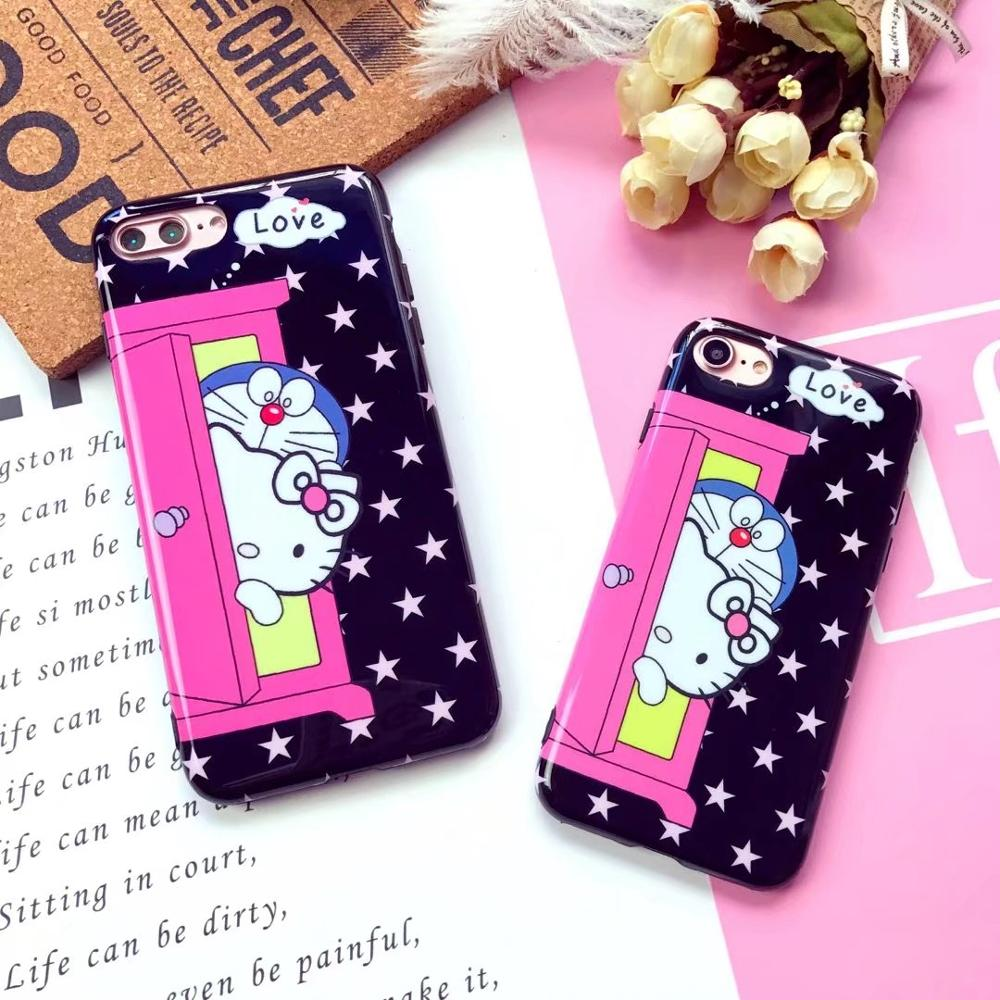 For iPhoneX 8/6s 7plus Japan Lovely Cartoon Doraemon Kitty Glossy TPU Back Cover Phone Case Body Protection