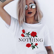Female T-shirt 2019 Gothic Red Rose Letter Printed Tshirt for Women Round Neck Short Sleeves Korean Style Tops Clothes(China)