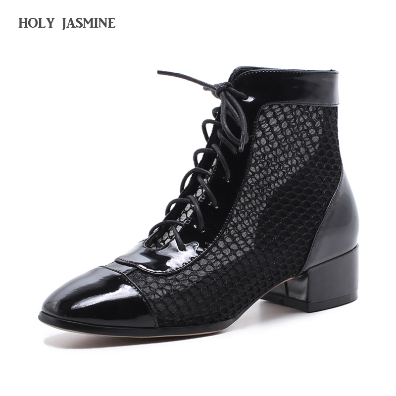 2018 Spring/Autumn New Genuine leather female spring and autumn boots cutout mesh High heels boots Square heel women's shoes 2018 autumn