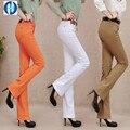 PIKB 2016 SÚPER MÁGICO estilo caliente de la señora pantalones casuales mujeres parte inferior de campana mediados de cintura elástica denim jeans mujeres de talla grande pantalones