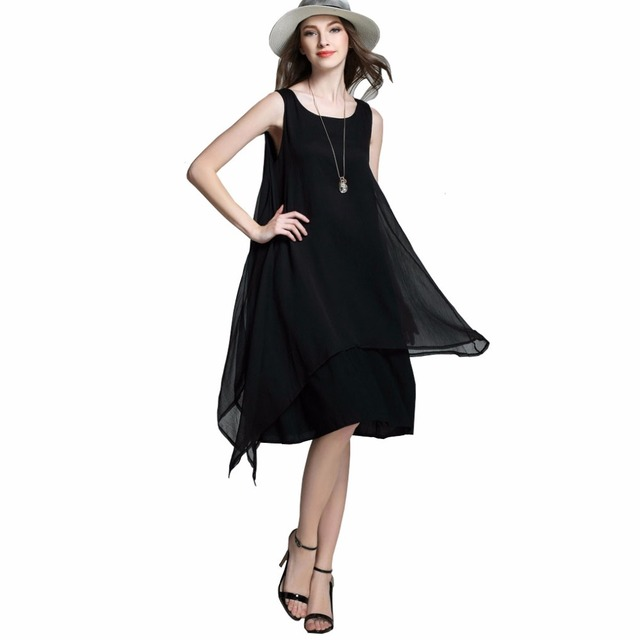 US $28.98  Womens Dresses New Arrival 2016 Summer Sleeveless Plus Size  Irregular Chiffon Dress Black White Swing Dress Vestidos De Verano-in  Dresses ...
