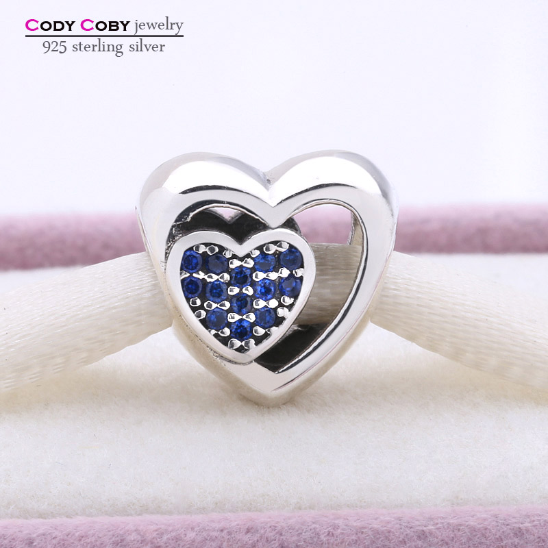 925 Sterling Silver Joined Together Hearts Charm With Blue CZ Heart Beads Fits Original Pandora Bracelets berloques para pulsera