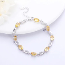 gemstone jewelry wholesale white 925 sterling silver natural yellow citrine crystal adjustable bracelet for women