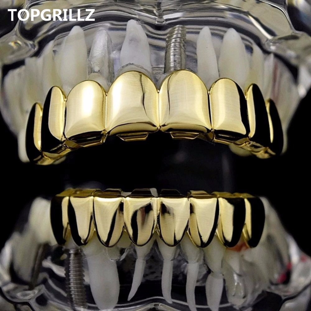 TOPGRILLZ 8/8 Hip Hop Teeth Grillz Set Gold Silver Color Top & Bottom Body Jewelry Punk Cosplay Party Tooth Grills Gifts topgrillz hip hop grillz iced out aaa zircon fang mouth teeth grillz caps top