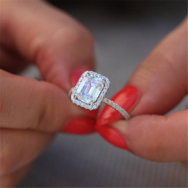 Charming Lady Promise ring 925 Sterling silver AAAAA Cubic Zirconia Statement Party Wedding Band Rings for women Bridal Jewelry