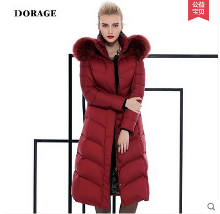2015 Winter Thicken Warm Woman Down jacket Coat Parkas Outerwear Hooded Slim Fox Fur collar Long Plus Size 2XXL Goose High-end top ec mens winter thicken warm smalltand collar down jacket coat
