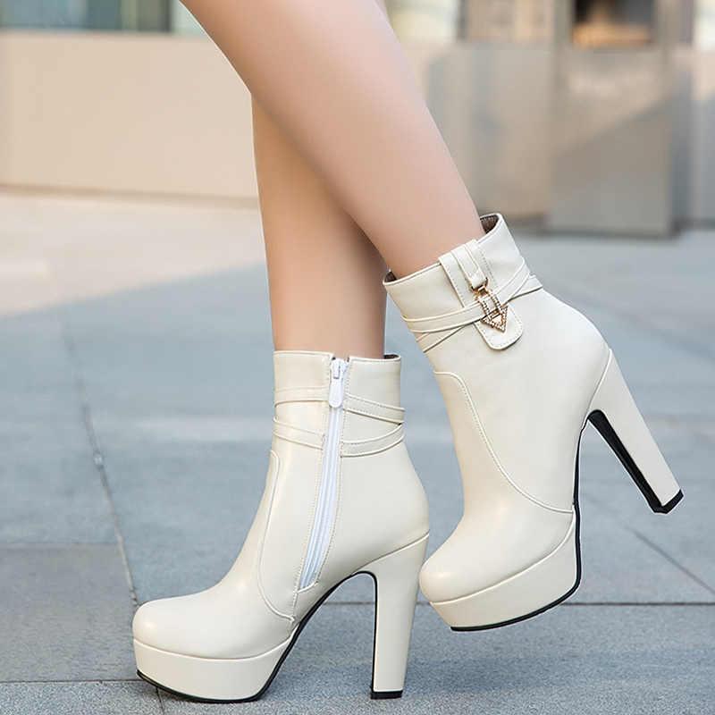 6f3545ea7 ... EVCHAR/осенне-зимние женские ботинки, модные ботинки на очень высоком  каблуке, женские ...