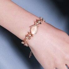 New Korean Creative Hand Ornaments Women Opal Chain Link Bracelet For Women Trend Dazzling Opal Leaves Rose Gold Bracelet Gift chic rhinestone faux opal bracelet for women