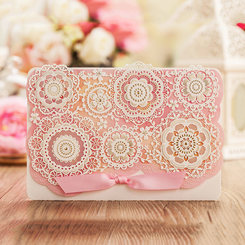 Design Dots Flower Ribbons Cartoon Pink Bow Invitations Card For Wedding Printing Blank Paper Invitation Cards Kit Laser Cut square design white laser cut invitations kit blanl paper printing wedding invitation card set send envelope casamento convite