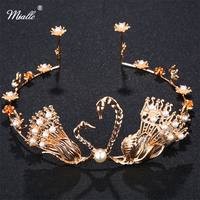 The Bride Retro Golden Swan Kiss Bride Wedding Accessories Baroque Hoop Crown