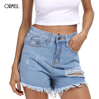 ORMELL Holes BF Style Denim Shorts Women High Waist 2017 Summer Fashion Casual Ladies Hot Pants