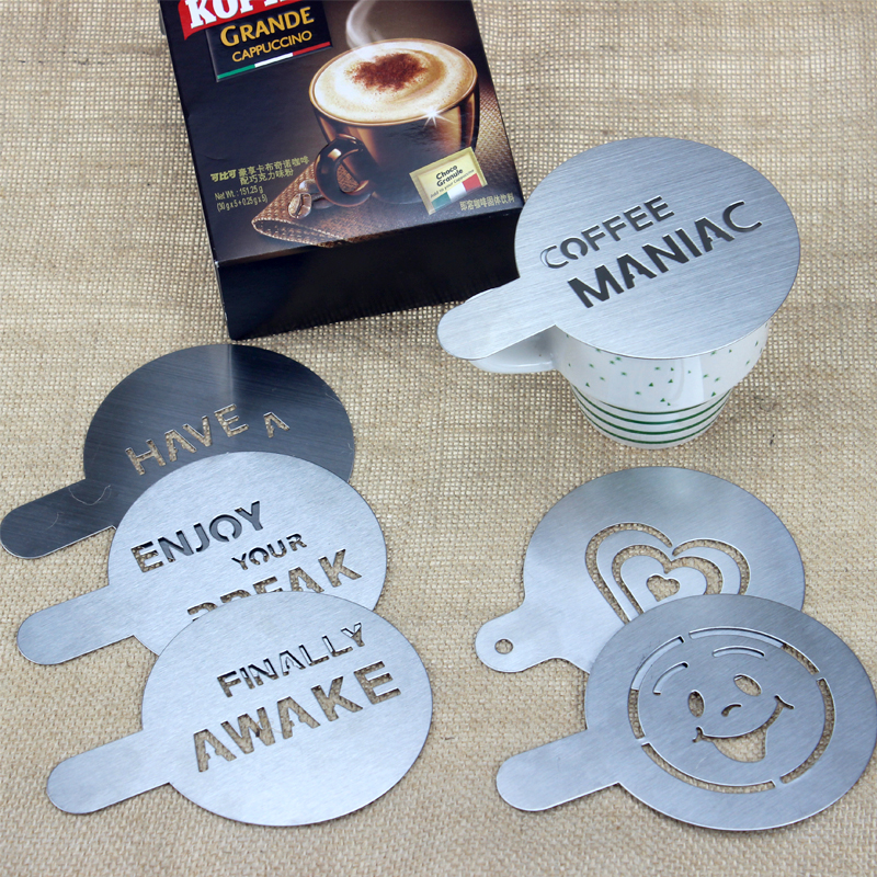 Hadeli 6pcs Lot Stainless Steel Metal Chocolate Diy Coffee Latte Art Mould Cuccino Stencils Barista Tools 100mm In From
