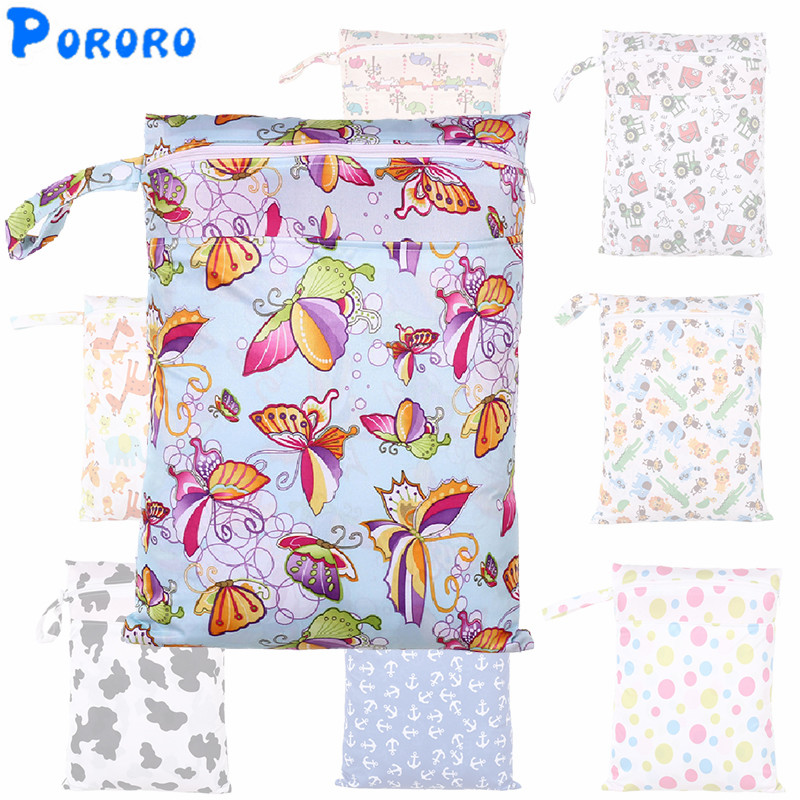 30x40cm Washable Baby Cloth Diaper Bags Nappy Reusable Waterproof Cartoon Print Double Zipper Pockets Wet Dry Bags Wetbags