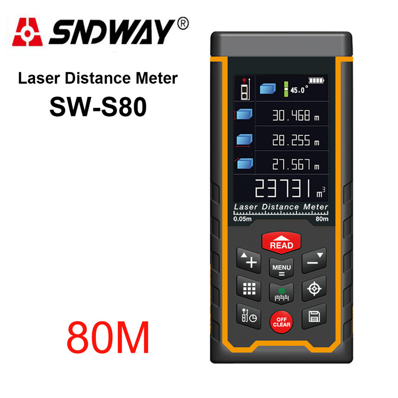 SNDWAY SW-S80 Rechargeable 80m Color Display High-Precision Laser Rangefinder Distance Meter Laser Tape Measure Diastimeter rechargeable color display high precision laser rangefinder distance meter tape measure with bubble level measure area volumes70