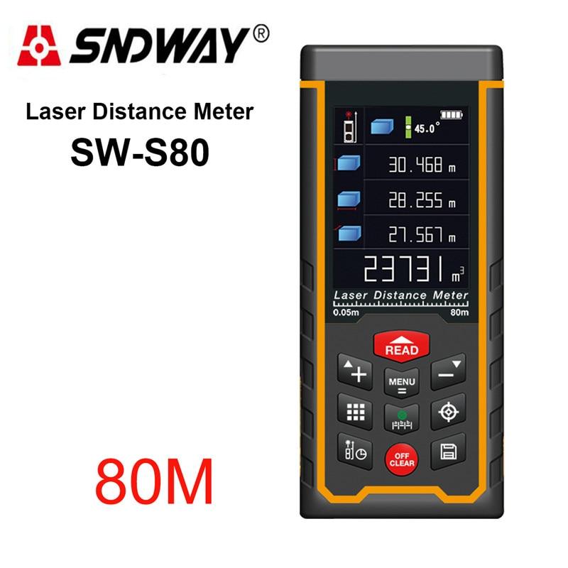 SNDWAY SW-S80 Rechargeable 80m Color Display High-Precision Laser Rangefinder Distance Meter Laser Tape Measure Diastimeter цены