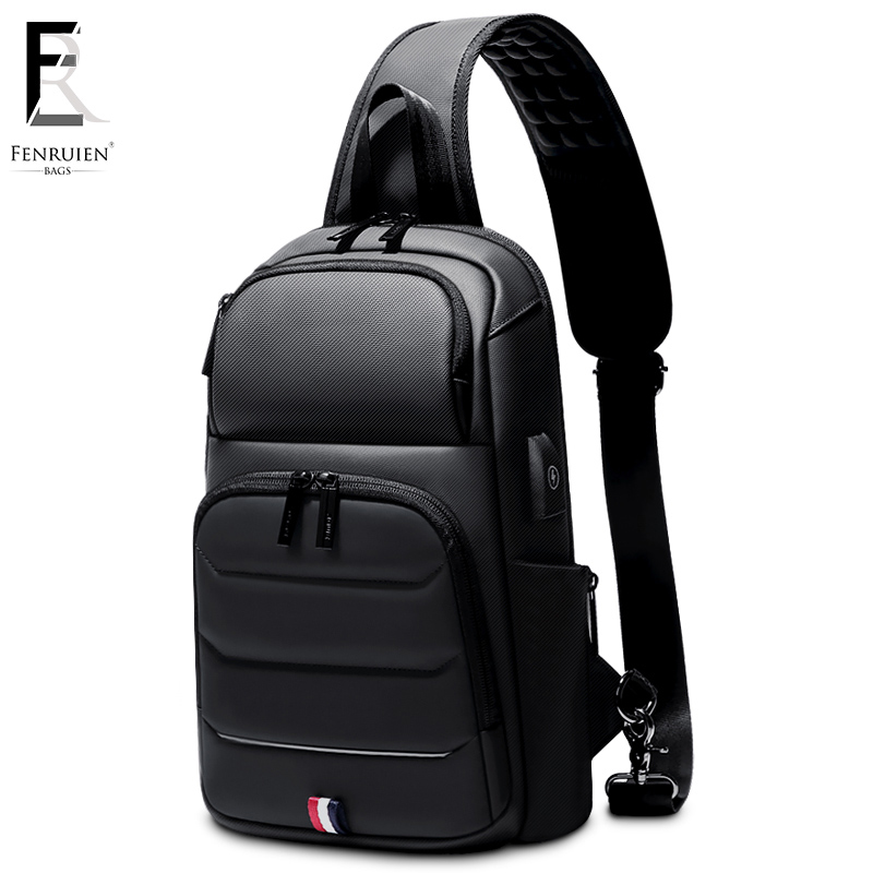 FRN new Crossbody Shoulder Bag for Men Sling Bag Usb Charging Short Trip Casual Messenger Bags Water Repellent Chest Bag Male-in Waist Packs from Luggage & Bags